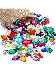 DEODARI Pirate Gems Fake Treasure Jewels with Pearls in Sack bag Kids Pirate party Favors Pack of 115