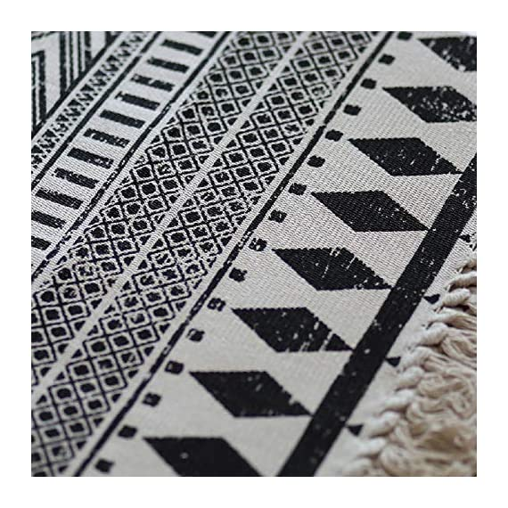 "HEBE Cotton Area Rug Set 2 Piece 2'x3'+2'x4.2' Machine Washable Black and Cream White Hand Woven Cotton Rug with Tassels Cotton Area Rug Runner for Living Room, Kitchen Floor, Laundry Room - Cotton Rugs Size: Hand Woven cotton tassel rugs set 2 pieces, small cotton accent rug measures 2'x3'(60*90cm) and long cotton runner rug measures 2'x4'3""(60x130cm). Durable Cotton Rugs: Our cotton rug well made by 100% Natural Cotton material.Great water absorption,protect your floors from moisture, stains and scratches,give soft and breathable touch when people walk on them. Classic Design: Cotton rugs designed with geometric patterns and extra snazzy knotted fringe tassels on each side which make them seem simple. Black and cream white color that will make it never go out of style and long time stay on the floor and also match all themed room decor. - runner-rugs, entryway-furniture-decor, entryway-laundry-room - 61lLQ1nFJUL. SS570  -"