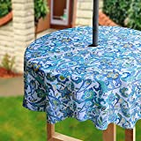 Eforcurtain Country Paisley Printed Outdoor Round Tablecloths Waterproof Machine Washable Fabric Tablecloth with Zipper and Umbrella Hole, 60 Inch, Multi-color/Green