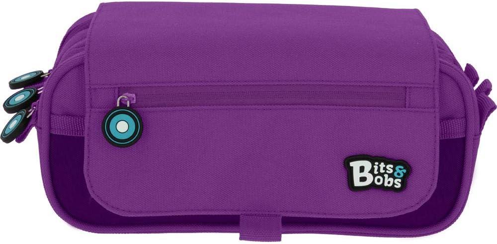 Grafoplás Bits & Bobs, Estuche Escolar 3 Compartimentos con Solapa, 23 cm, Violeta