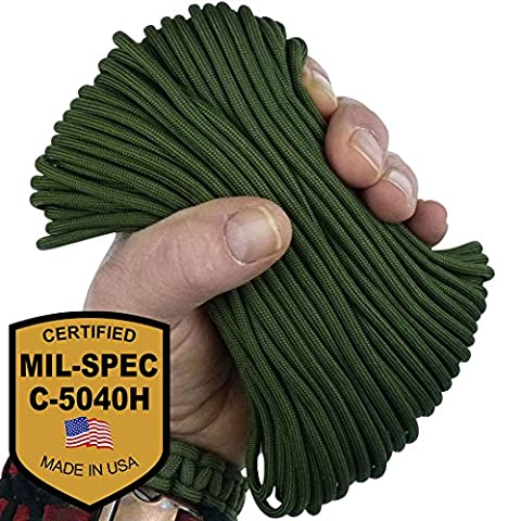MilSpec Paracord Camo Green 8-Strand 310 ft. Spool. Guaranteed MIL-C-5040H Compliant, Military Survival 550 Parachute Cord, Type III. Made in USA. 100% Nylon, 600 Lb. Break Strength, 2 Free eBooks.