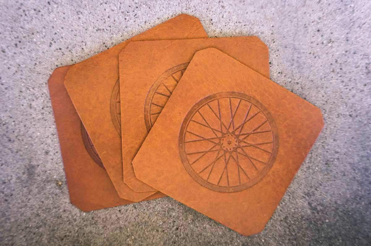 4 Pack Bicycle Wheel Leather Coasters Tan