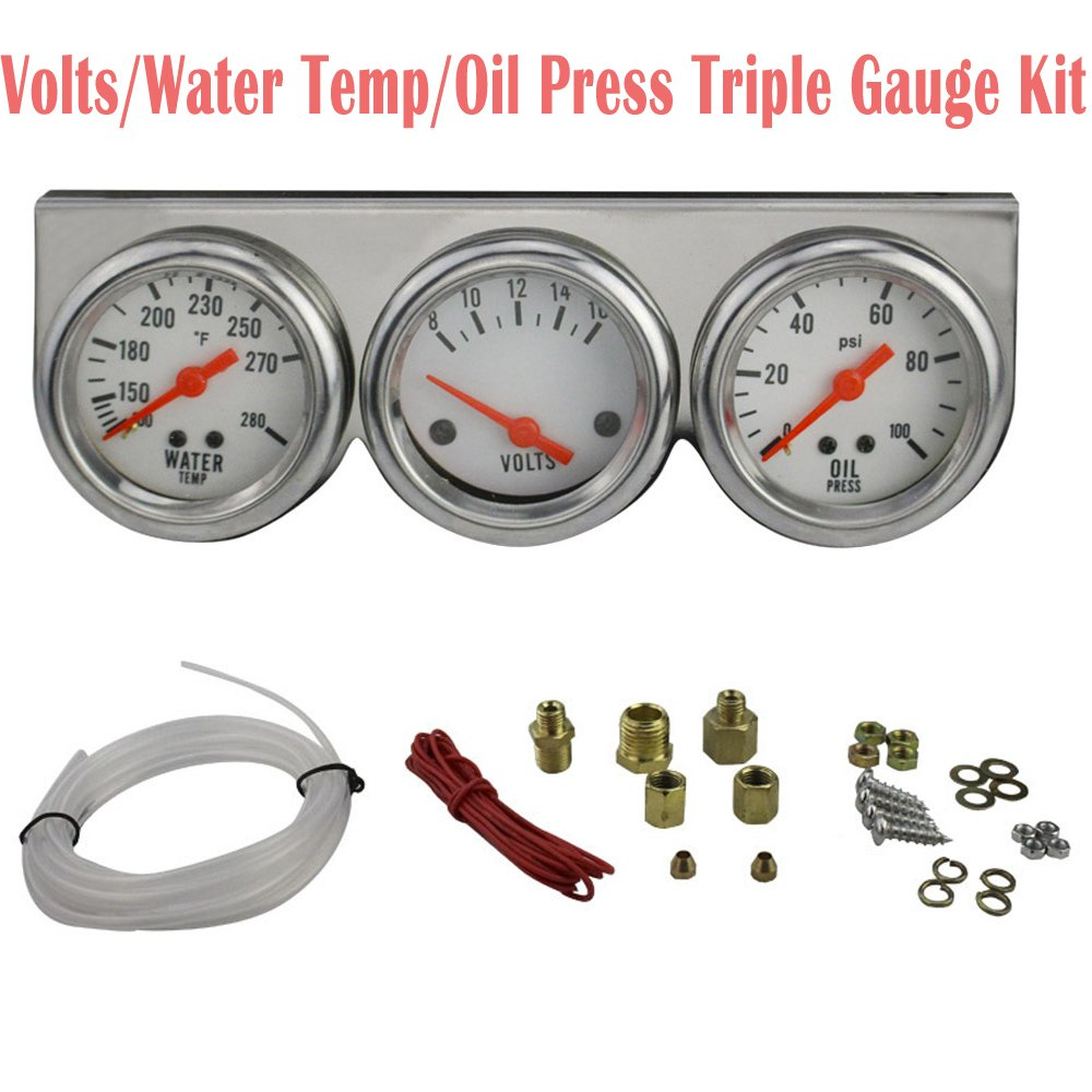 Vinmax Triple Gauge Kit Voltage/Water Temperature/Oil Pressure Universal 50mm Chrome 3 In 1 Set Auto Gauges Kit White
