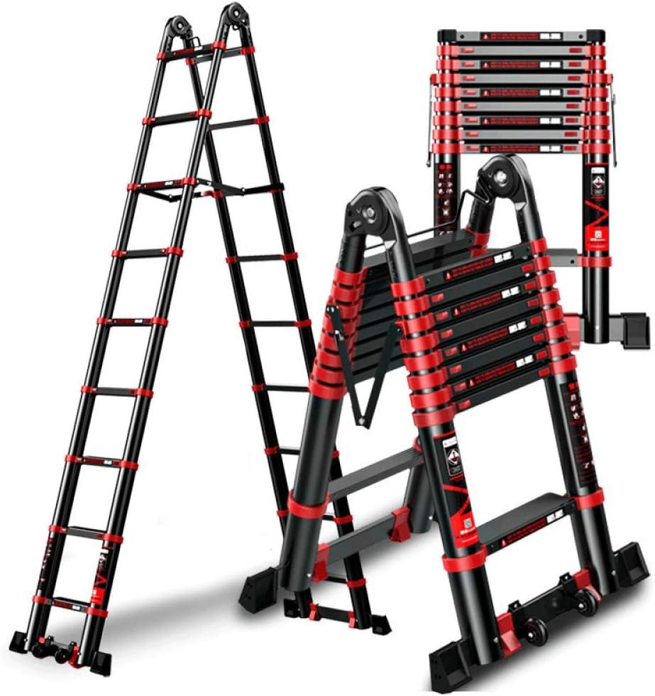 YXLONG Escalera Telescópica De Aluminio, Escalera Extensible Cinturón Escalera Barra De Equilibrio Fácil De Llevar,3.3+3.3m: Amazon.es: Jardín