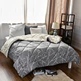 "Bedsure Full/Queen Printed Reversible Comforter Quilted Down Alternative Comforter Diamond Stitching Design Grey/Iovry 88""x88"""
