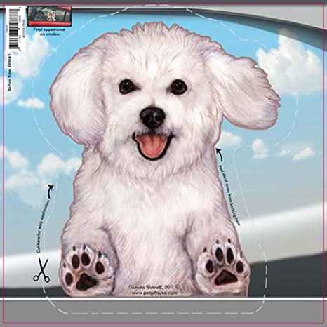 Bichon Frise - Dogs on the Move Car Vinyl Window Decal Cling Sticker