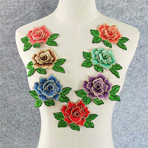 11 Pcs Cute Colorful Rose Applique Flowers Patch Embroidered Sew on Clothes Bags Handmade DIY Accessory Clothes Decal (Color 1)