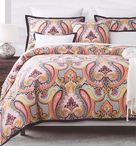 Eclectic Mid-Century Modern Glamour Paisley Pattern Duvet Quilt Cover 3pc Bedding Set by Envogue, 400TC Cotton Luxury Hippie Boho Chic Style Vibrant Medallion Design ()