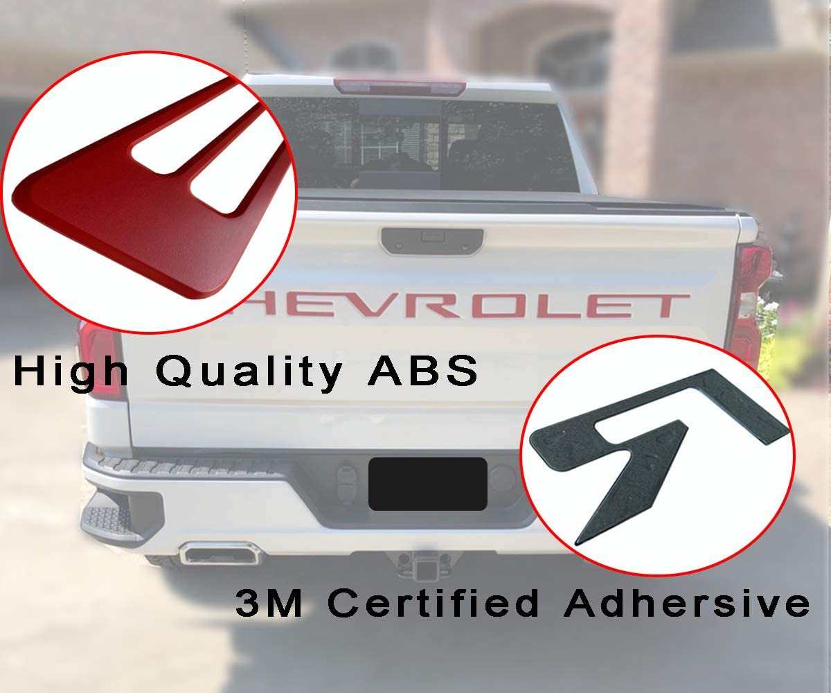 Chrome Silver 3M Adhesive /& 3D Raised/Chevy Silverado Tailgate Letters KENPENRI Tailgate Insert Letters for 2019 2020 Chevrolet Silverado