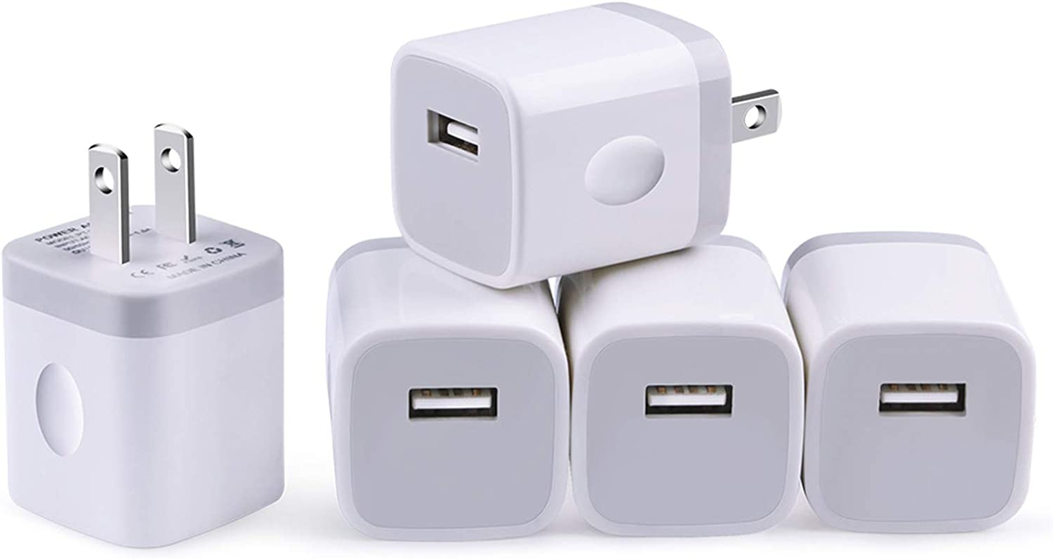 USB Charger Plug, Charging Block, NonoUV 5-Pack 1A/5V Single Port USB Wall Charger Cube Box Compatible with iPhone 11 Pro Max XR XS X 8 7 6 6S Plus, iPad, Samsung Galaxy, LG, Moto, Kindle, Android