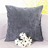 Home Brilliant Spring Decor Soft Decorative Striped Corduroy Velvet Square Throw Pillow Sofa Cushion Covers for Couch, 18x18 inch (45cm), Dark Grey