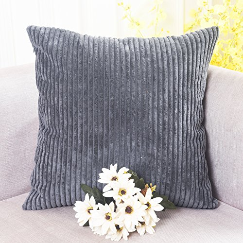 home brilliant decor soft decorative striped corduroy velvet square throw pillow sofa cushion covers for couch 18x18 inch 45cm dark grey