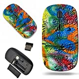 Luxlady Wireless Mouse Travel 2.4G Wireless Mice with USB Receiver, 1000 DPI for notebook, pc, laptop, macdesign IMAGE ID: 23193338 mottled spray painted with dripping texture and orange heart