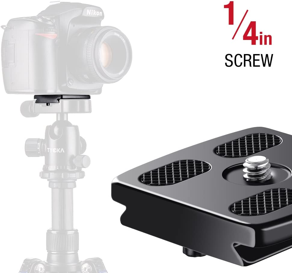 TYCKA Quick Release Plate Universal Replace, QR Plate Standard for Tripod with 1/4 inch Screw Black