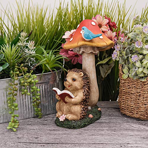 TERESA'S COLLECTIONS 10 Inch Hedgehog Reading Book Garden Statues, Mushroom Fairy House Figurine with Solar Powered Garden Lights for Outdoor Patio Yard Decorations