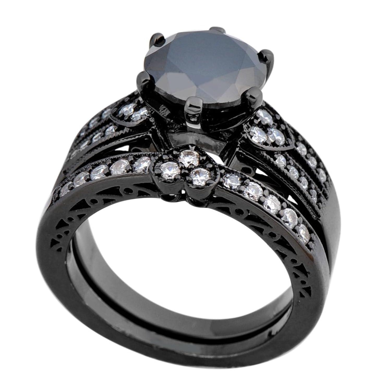 Amazon Bamos Jewelry Womens Black Stone Six Claw White CZ