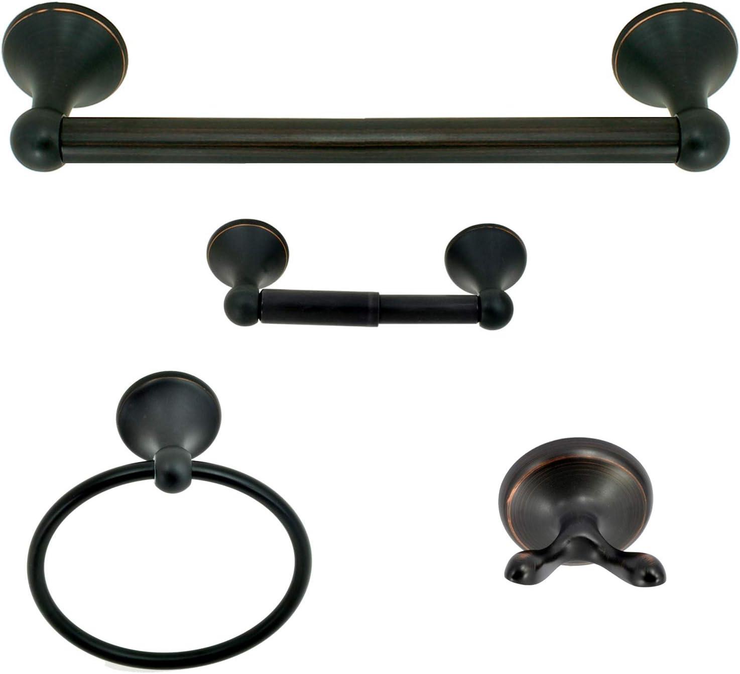 Nuk3y Modern 4 Piece Bathroom Hardware Towel Bar Accessory Set (Dark Bronze)