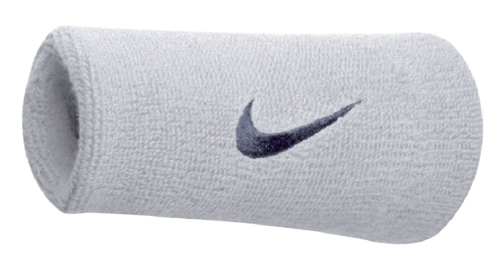 Nike Swoosh Doublewide Wristbands (One Pair) Black/White One Size N.NN.05.010.OS