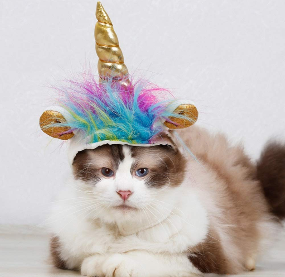 Stock Show Cat Unicorn Hat Unicorn Costume for Small Dog Cat Puppy Novel Funny Adjustabale Cosplay Mane Hat Headgear for… 8