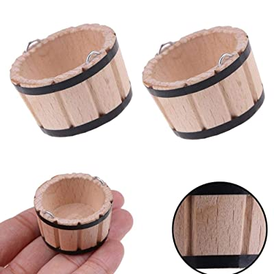 LotCow 1:12 Miniature Wooden Bucket Wooden Barrel Empty Flower Pot Dollhouse Furniture Accessories Pack of 2: Home & Kitchen