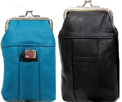 07eda2666f3a 100s + 120s Pair Pure Leather Cigarette Soft Case Pouch in Two Color  TURQUOISE fit 100s