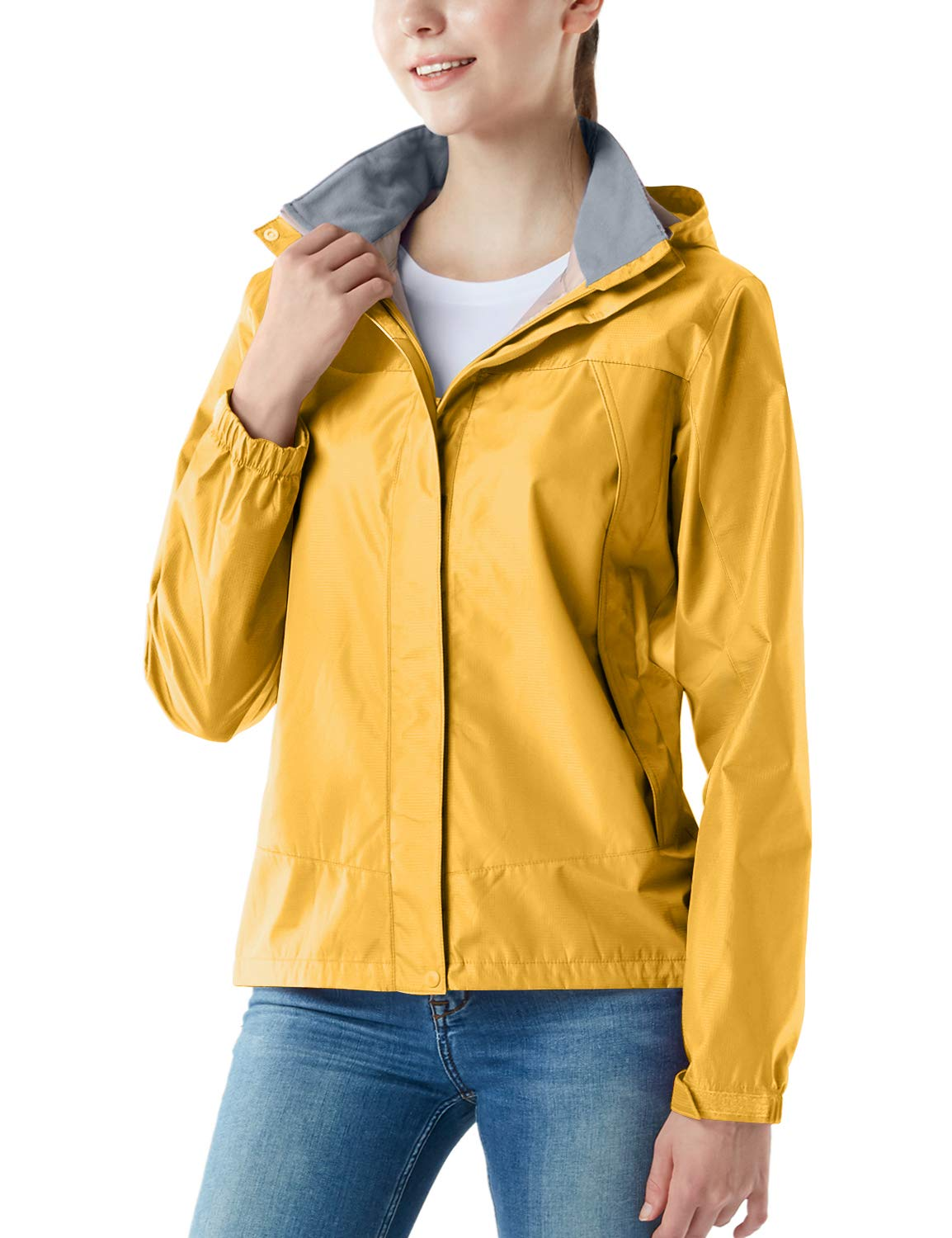 Tesla TM-FET02-YLW_X-Small Women's Lightweight Water Proof Outdoor Raincoat Watertight Rain Defender Hooded Packable Jacket FET02