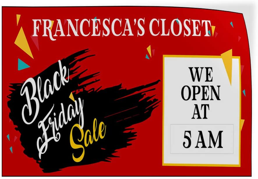 Custom Door Decals Vinyl Stickers Multiple Sizes Clothing Store Closet Black Friday Business Sale Outdoor Luggage /& Bumper Stickers for Cars Red 45X30Inches Set of 5