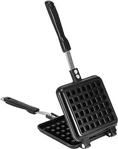 Portable Cast Iron Waffle Maker for Belgian Waffles Sandwich Toaster Breakfast, 12.4 X 5.51 in