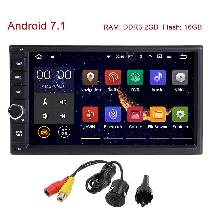 freeauto Universal 7.1 Android coche GPS navegación 2 Din 1024 * 600 pantalla táctil cabeza unidades DAB + WiFi mirrowlink Bluetooth cámara trasera, ...
