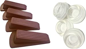 Combo Pack of 4 PC Clear Door Stoppers + 4 PC Brown Door Wedge Stoppers Prevents Damage to Walls from Door Knobs Handles, Guard and Sheild