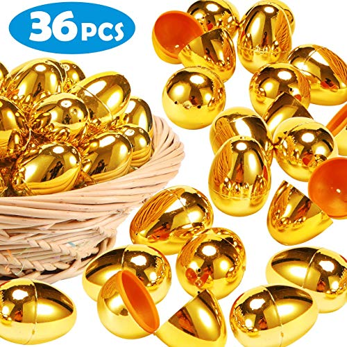 36 Pieces Shiny Golden Easter Eggs-2 3/8