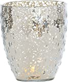 Luna Bazaar Vintage Mercury Glass Vase or Candle Holder (5.25-Inch, Rain Drop Motif, Silver) - For Home Decor, Party Decorations, and Wedding Centerpieces