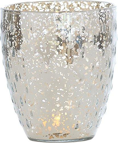 Luna Bazaar Vintage Mercury Glass Vase or Candle Holder (5.25-Inch, Large Deborah Design, Silver) - For Home Decor, Party Decorations, and Wedding -
