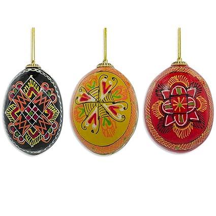 "2.5"" Set of 3 Wooden Ukrainian Easter Eggs Pysanky Christmas Ornaments - Amazon.com: 2.5"