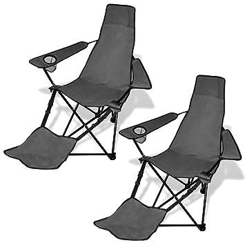 Set de 2 sillas de camping plegables con reposapiés gris ...