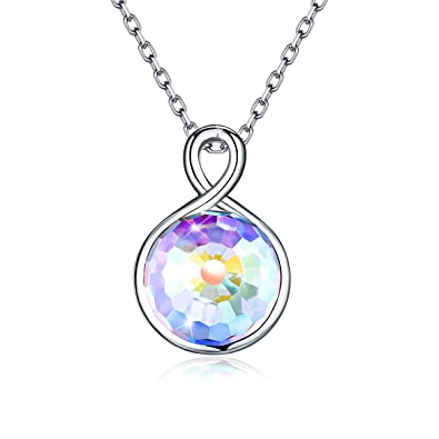 28f93b9b4a46 Amazon.com  CRYSLOVE 925 Sterling Silver Crystals Necklace Infinity Love  Round Aurora Crystals Women Pendant Necklace Gifts Jewelry 18