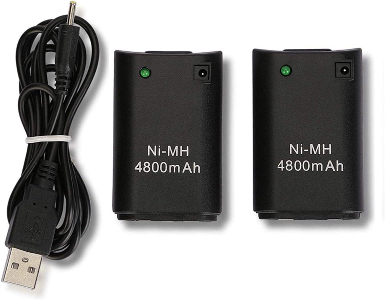 Xbox 360 Mando Batería, OSAN 2Pc 4800mAh Baterías + USB Cable para Mando Remoto de Control Xbox 360 Negro