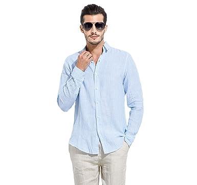 7e57c029b0ce UAISI Leinen Hemd Casual Blau Slim Fit Gestreiftes Hemd with Lange  Ärmel,Button Down 100%