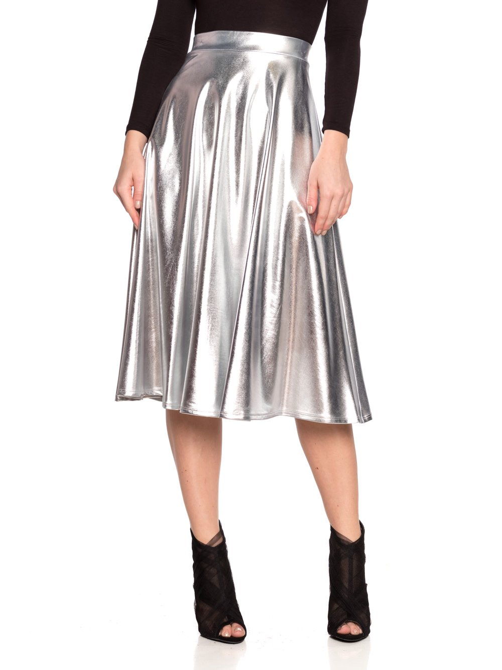 Women's J2 Love Faux Leather Flare Skirt, Large, Silver
