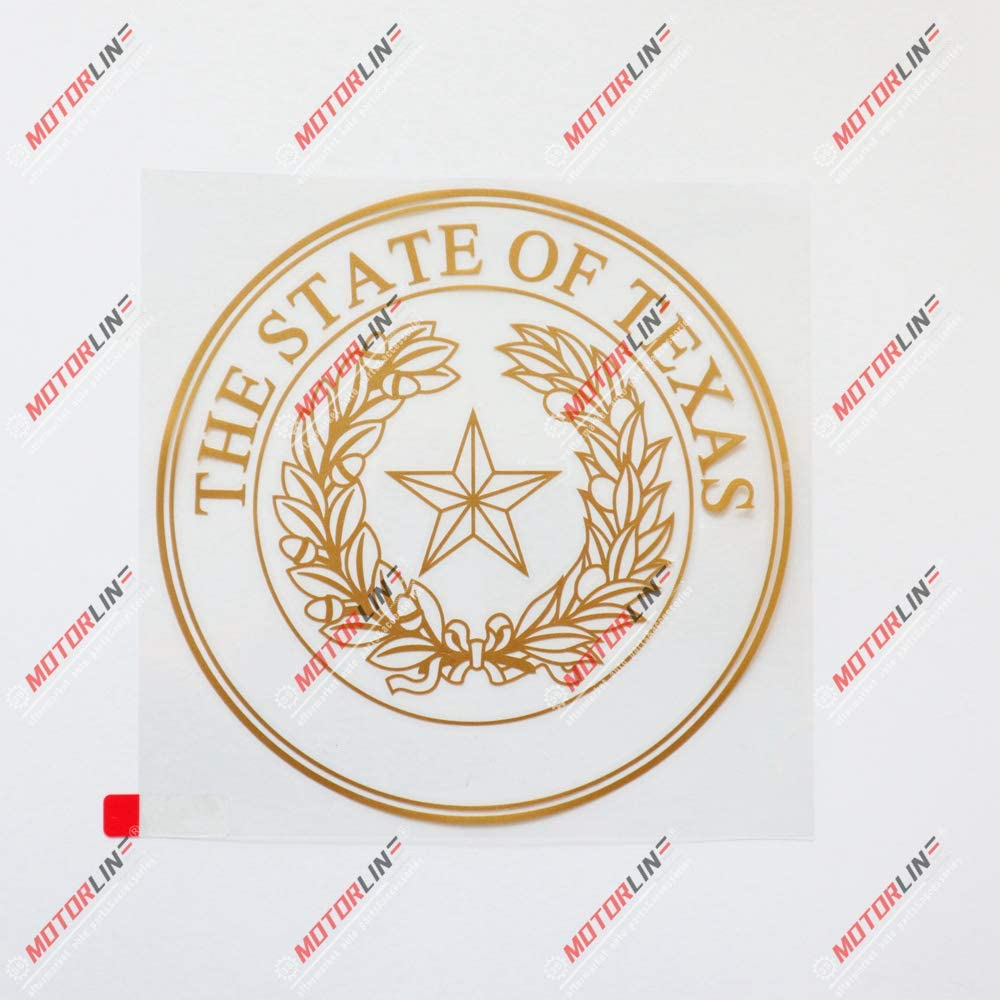 3S MOTORLINE 6 Gold Texas State Seal Decal Sticker Car Vinyl American State TX die Cut no Background