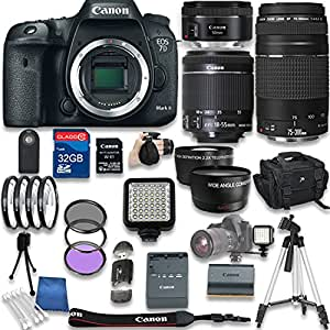 Canon EOS 7D Mark II DSLR Camera with W-E1 Wi-Fi Adapter + Canon EF-S 18-55mm f/3.5-5.6 IS STM Lens + Canon EF 50mm + Canon EF 75-300mm + 32GB SD Memory Card + Accessory Bundle - International Version