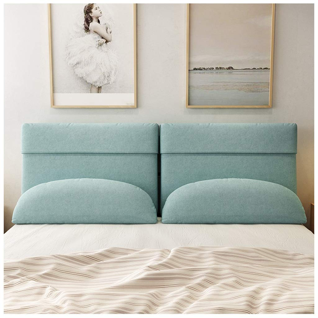 Bedroom Double Bed Soft Cushion Bedside Pillow, Queen Bed Reading Pillow Fabric Reading Pad Removable and Washable Cushion Simple Modern (Color : No Bed Blue, Size : 90X60cm)