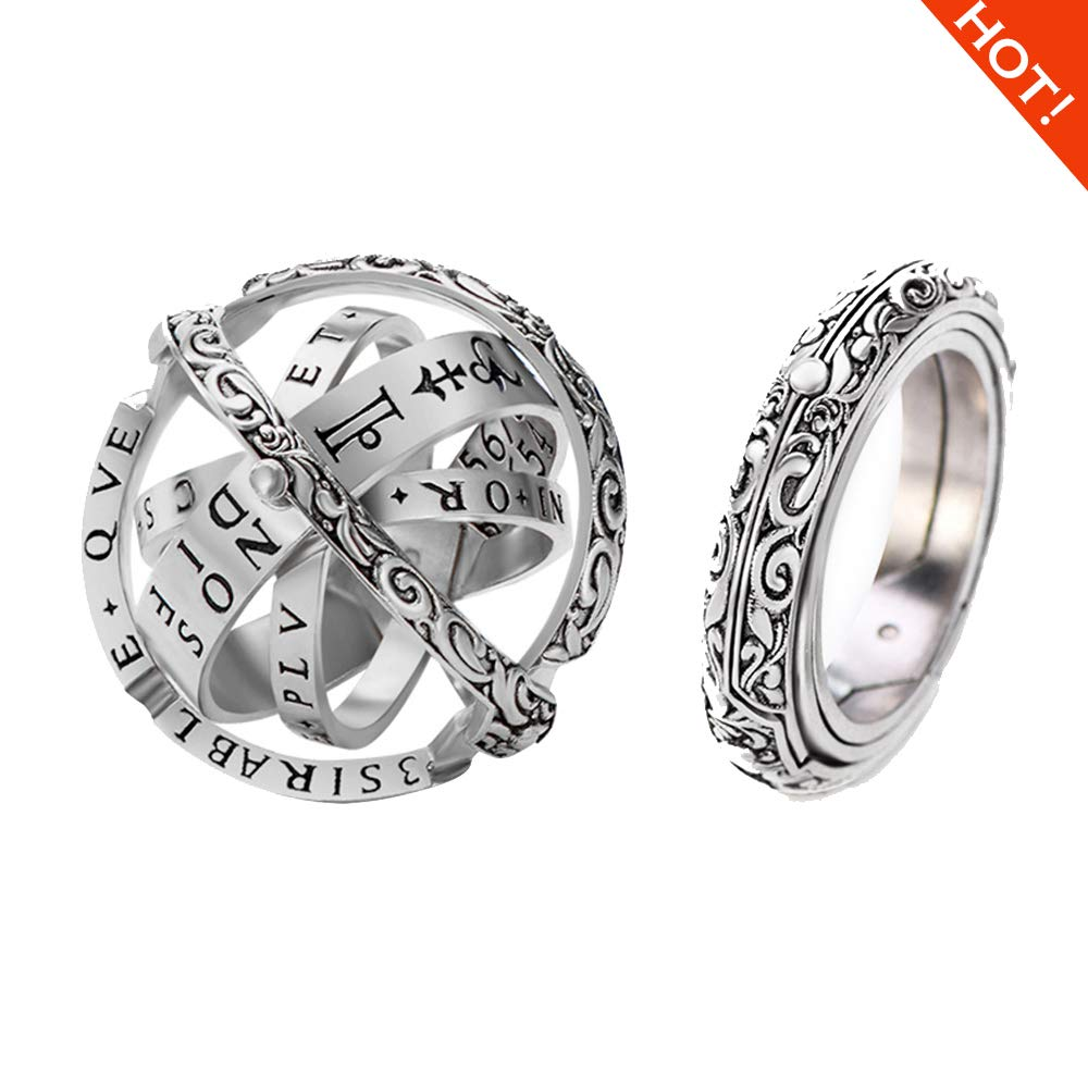XIANGMENG Luxury 100% 925 Silver Astronomical Sphere Ring That Folds Out to an Astronomical Ball Ring| Luxury Hand-Carved|Close is Love,Open is The World,Best Gift Choice (All Size Provided)