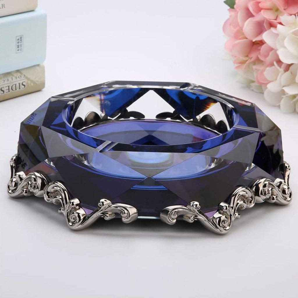 クリエイティブな合金クリスタルガラス灰皿ファッションパーソナリティ灰皿のリビングルームヨーロッパの灰皿 (色 : 青)  青 B07CTDBZSX