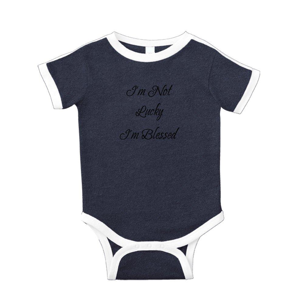 8d5bef772 Amazon.com: I'm Not Lucky I'm Blessed Cotton Short Sleeve Crewneck Unisex  Baby Soccer Bodysuit Sports Jersey - Navy, Newborn: Clothing