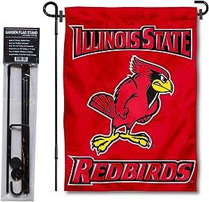 Illinois State University Garden Flag and USA Flag Stand Pole Holder Set