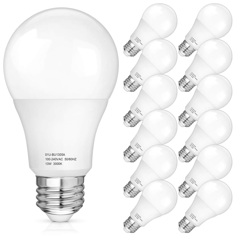 A19 LED Light Bulbs 100-125 Watt Equivalent, 3000K Soft White LED Bulb 13-Watt, 1500 Lumens, E26 Medium Standard Base, CRI85+, 25000+ Hours Lifespan, No Flicker, Non Dimmable, Pack of 12