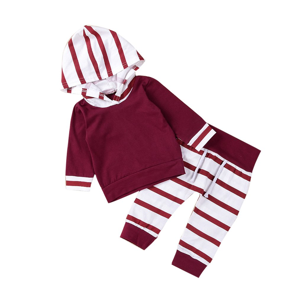 MIOIM Newborn Infant Toddler Baby Girls Boys Long Sleeves Hoodie Tops Pants Outfits 2Pcs Clothes Set