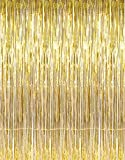 3' X 8' (36' X 96') 3 ft X 8 ft. Metallic Gold Foil Fringe Curtains Door Window Curtain Party Decoration- (Gold, 3' X 8'- Pack of 3)