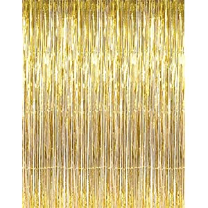 Metallic Foil Fringe Curtains 12 ft X 8 ft. Door Window Curtain Party Decoration